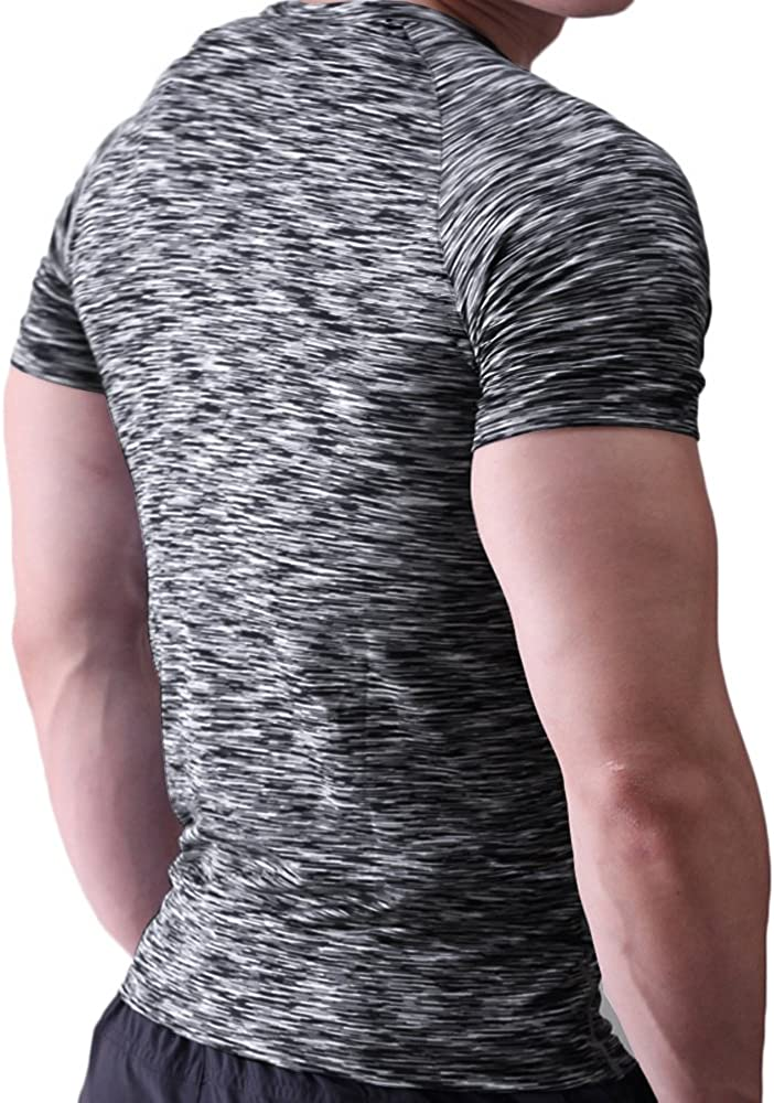 Muscle Alive Mens Tight T Shirts Crew-Neck Short Sleeve Workout Muscle Compression Tees