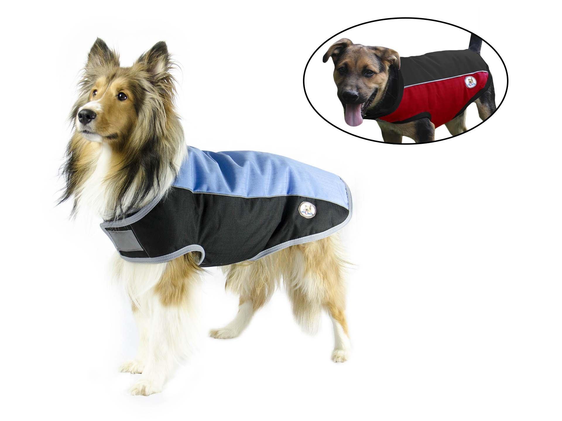 cuteNfuzzy Comfort Fit Reflective Winter Dog Blanket 600D Polyfil 150 lining 210T (X-Small, Black/Sky Blue)