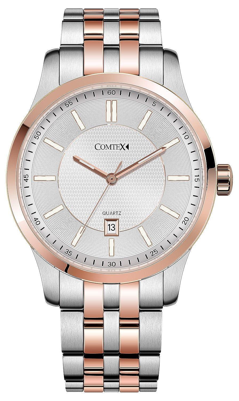Comtex Luxus Herren Armbanduhr Datum Analog Quarzuhr Gold Edelstahl Uhren