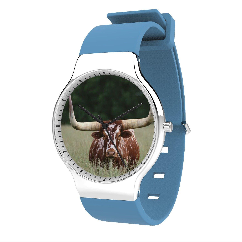 FELOOWSE Longhorn Watch Men'S Quartz Watches, Minimalist Slim Japanese Quartz Youth Silicone Watches, Fashion PracticalWaterproof Boys Watch Customized Watches