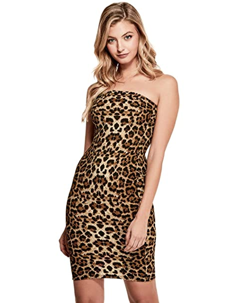 22ff42318f2 GUESS Factory Women s Erika Leopard-Print Strapless Bodycon Dress at Amazon Women s  Clothing store