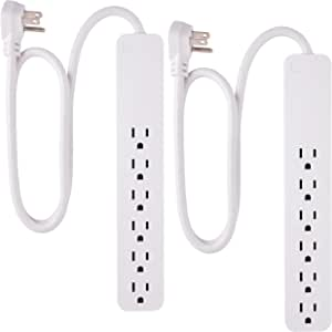 GE, White, Strip Surge Protector 2 Pack, 6 Outlets, Flat Plug, Long Power Cord, 2Ft, Wall Mount, 46867, 2 Ft