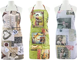 FBTS Prime Adjustable Apron with Two Big Front Pockets (Set of 3) Retro Style Water Resistant Apron For Women And Men