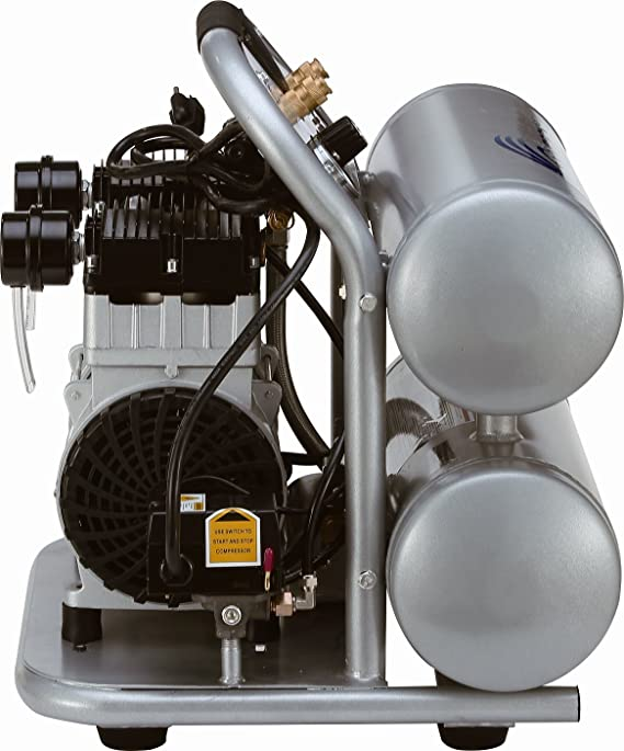 California Air Tools cat-4620ac Ultra silencioso y sin Aceite 2.0 HP 4.0 L aluminio doble tanque eléctrico portátil compresor de aire, color plateado: ...