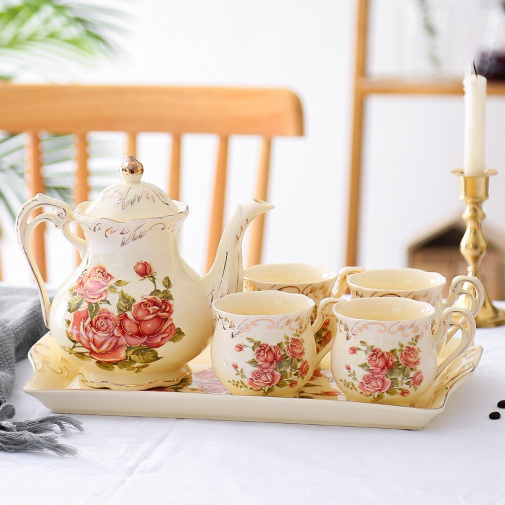 PLLP English Afternoon Tea Set Tea Cup Ceramic Cup Household Coffee Cup Set Continental Cup Set,B