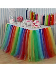 Vlovelife Rainbow Color Tulle Table Skirt Tutu Tableware TableCloth Wedding Party Baby Shower Decorations Handmade Favor 100cm X 80cm Customized Size Available