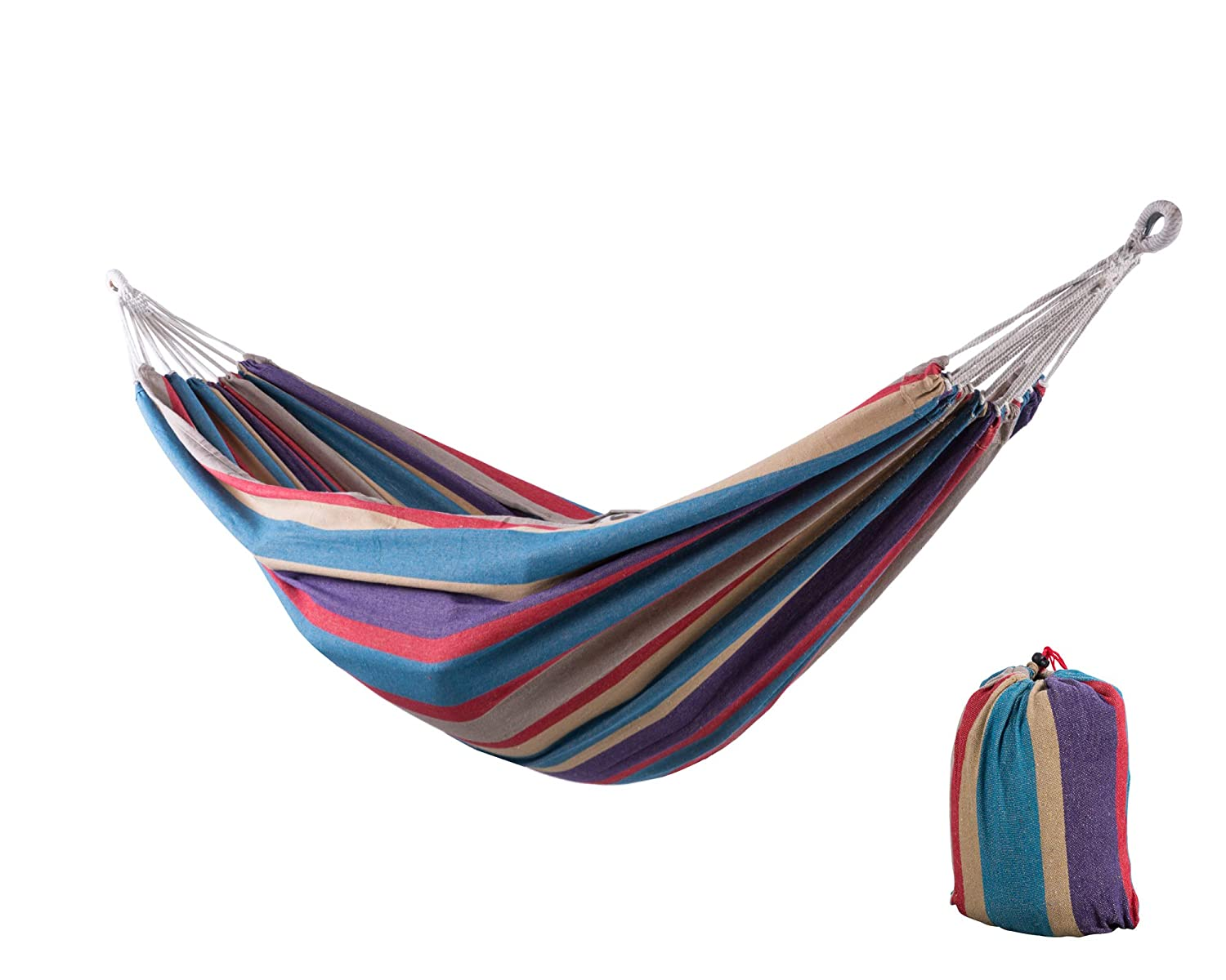 SUNCREAT 12ft Double Brazilian Wide Hammock Cotton Fabric Travel Camping Hammock with 2 Person for Indoor or Outdoor-Tropical