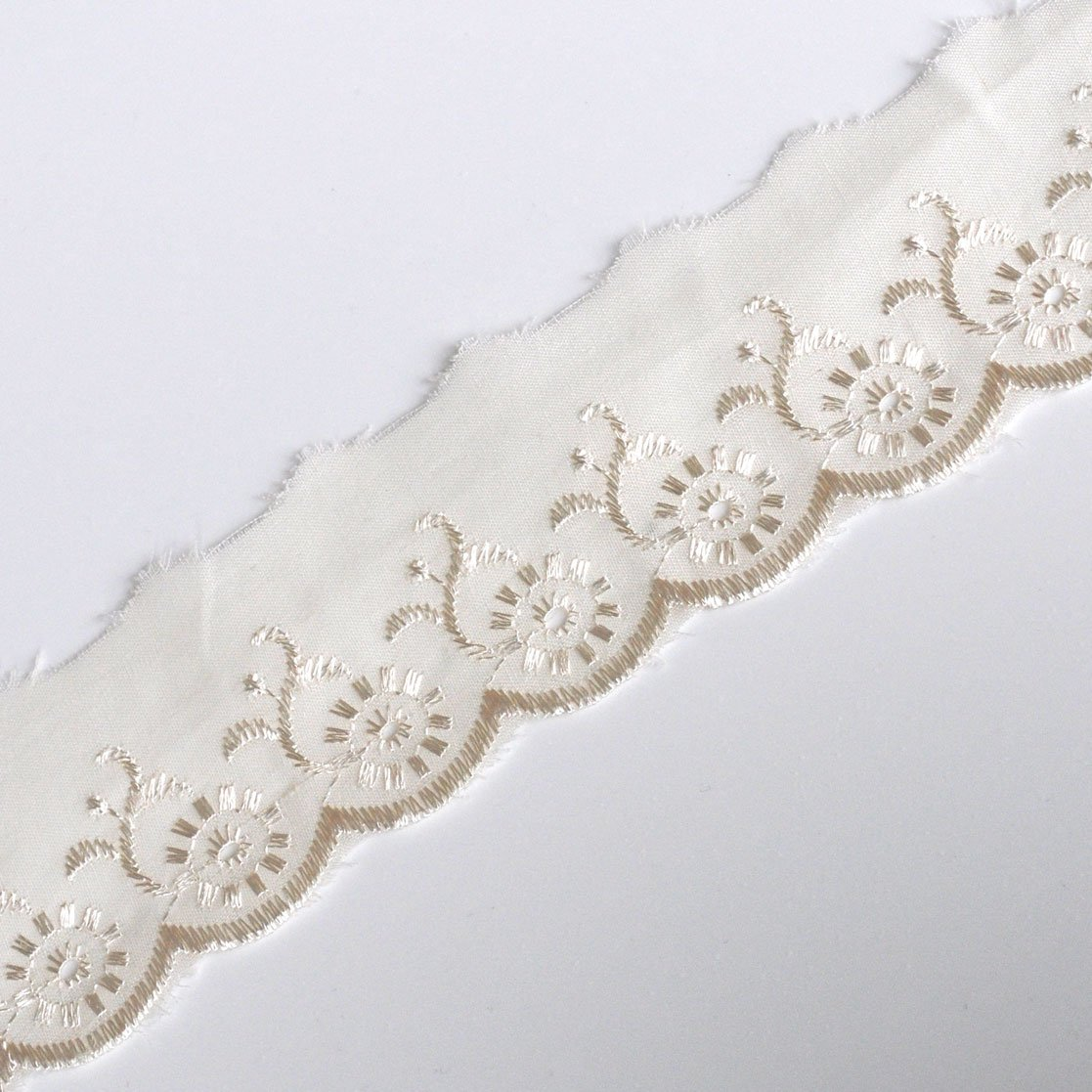 Plush Addict Broderie Anglaise Scalloped Lace Trim 50mm Wide Per Metre Cream