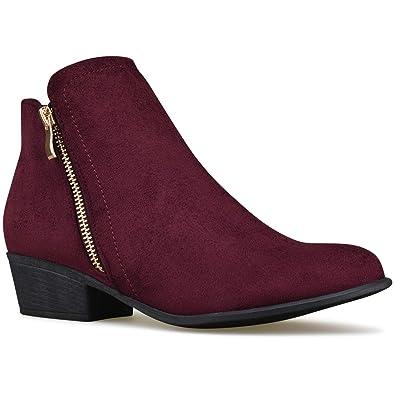 25bd4ecd4acb Premier Standard - Women s Zipper Toe Bootie - Low Heel Casual Comfortable  Walking Boot