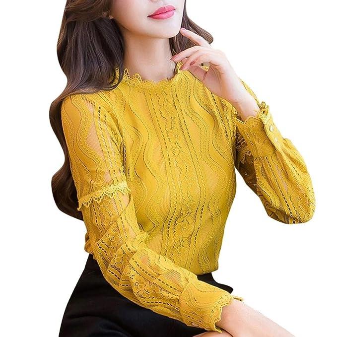 LMMVP❤ ❤ Blusa Mujer, Las Mujeres de Oficina de Encaje a Rayas de Manga Larga Delgado Trabajo Camisa Tops Blusa: Amazon.es: Ropa y accesorios