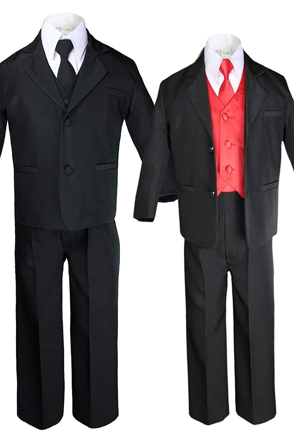 Unotux 7pc Boys Black Suit with Satin Red Vest Set from Baby to Teen