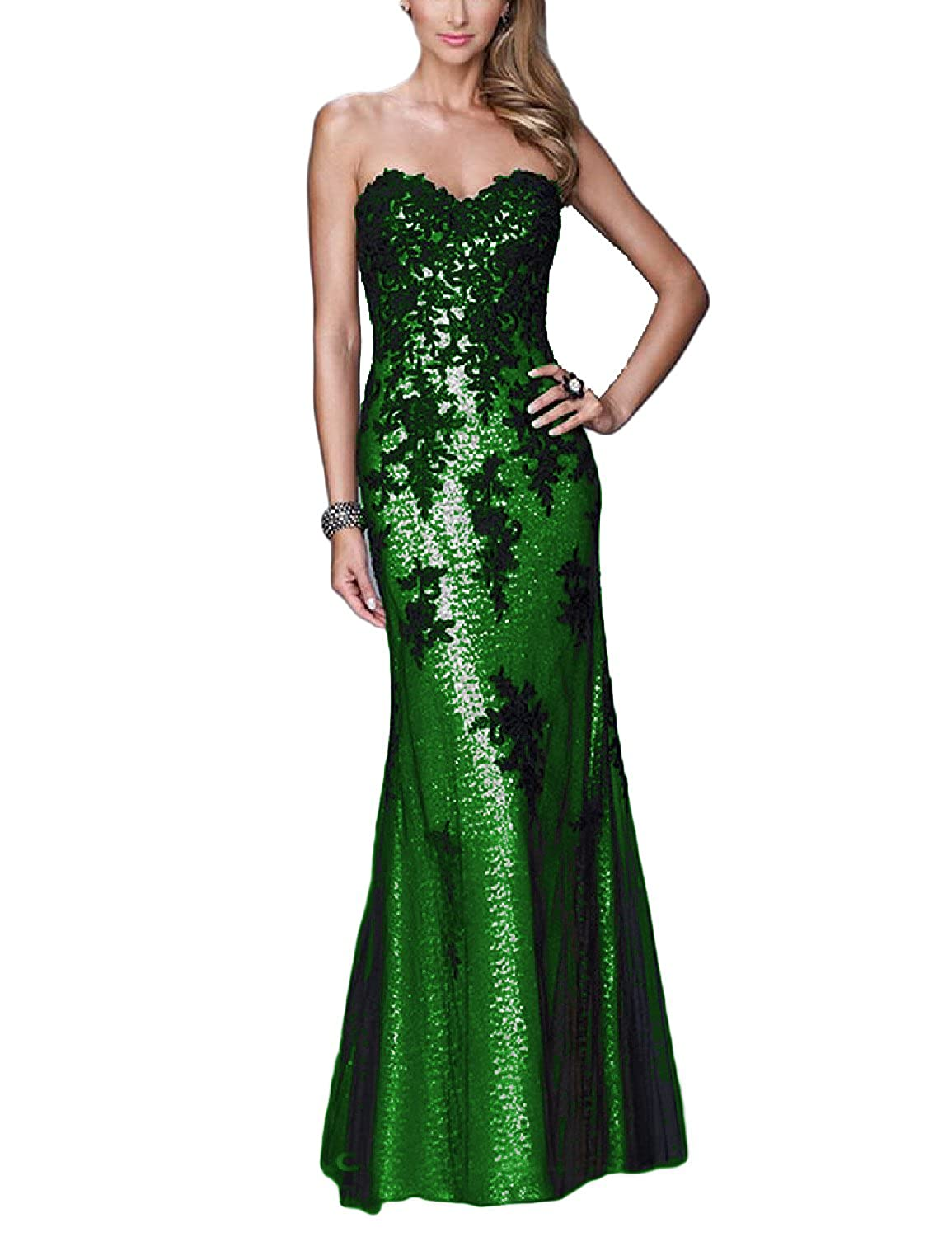 YSMei Womens Mermaid Sequins Evening Dress Strapless Formal Prom Gowns YSM191