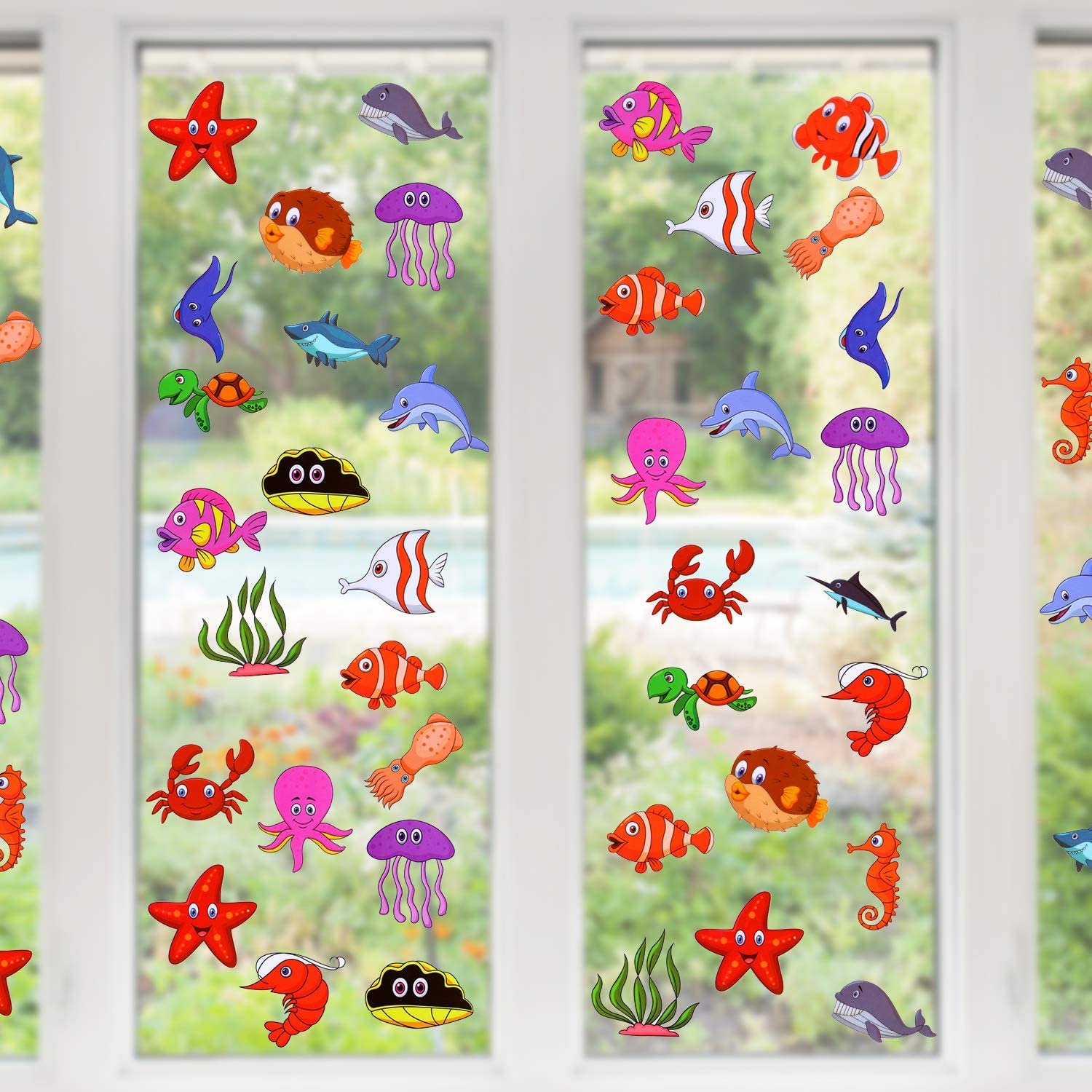 200 Pieces Ocean Theme Window Clings Decorative Sea Life Windows Decals Static Stickers with Shark, Fish, Dolphin, Whale Glass Window Clings for Kids and Adults, 10 Sheets