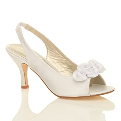 WOMENS WEDDING BRIDAL LADIES PROM SHOES LOW HEEL EVENING SANDALS SIZE 3 36