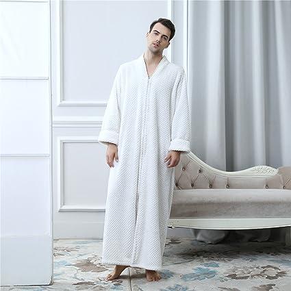 Yanyan 2018 Hommes Peignoir Zip Long Dressing Robe Flanelle Peignoir