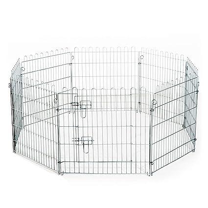 PawHut - Valla para perros, gatos, cachorros, roedores, 8 piezas, 63