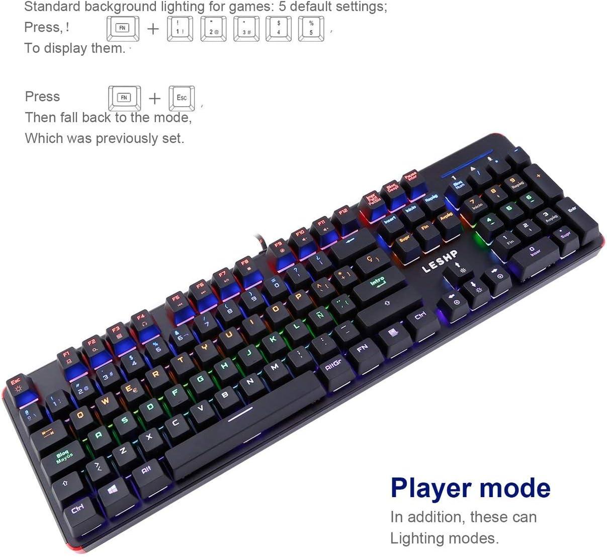 LoveOlvido LESHP Teclado mecánico con Cable USB 105 Teclas Iluminado Profesional para Juegos de Oficina con retroiluminación LED Ajustable