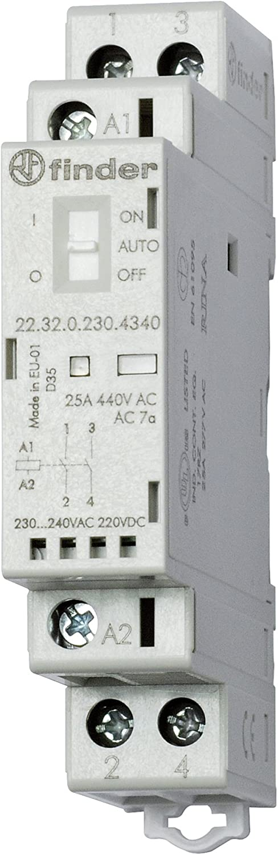 Finder serie 22 - Contactor modular 2na 24v agsno2 selector +indicador +led