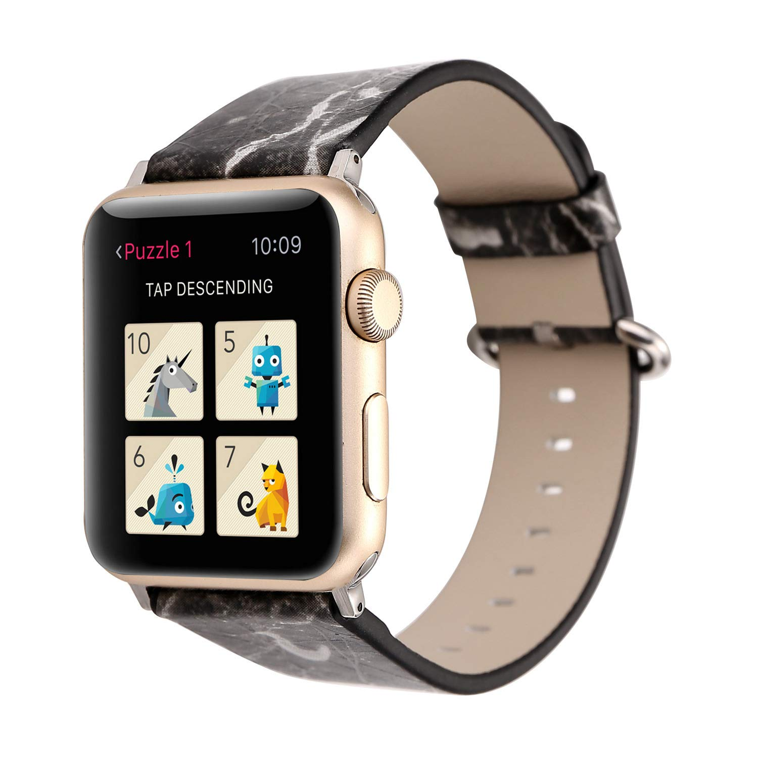 Compatible with Apple Watch Strap 38mm 42mm 40mm 44mm Leather Embossed Painting Replacement for iWatch Series 4 3 2 1 Nike+ by Kortusa