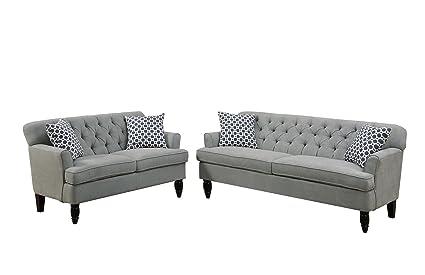 Amazon.com: Poundex Bobkona Fostord Velveteen Fabric 2Piece Sofa ...