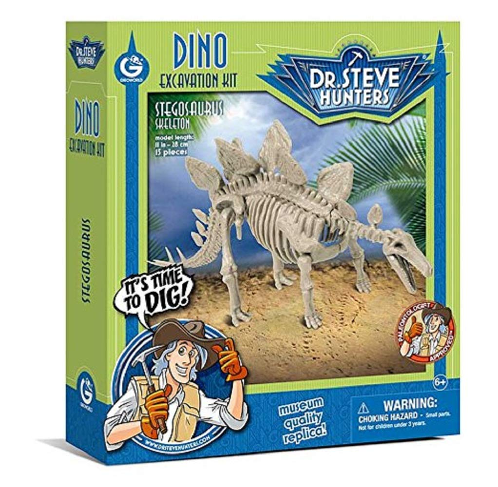 Geoworld 625270 - Dr. Steve Hunters: Dino Ausgrabungs-Set - Stegosaurus-Skelett, Alter: 6+, Grö ß e: 28 cm CL1667K Dinosaurier