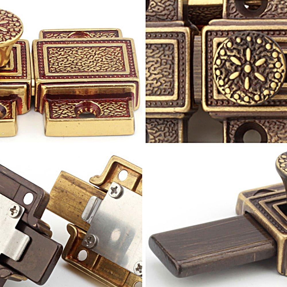 Zhi Jin 1Pc Luxury Pure Brass Barrel Slide Door Bolt Heavy Duty Gate Security Lock Latch Gold by Zhi Jin (Image #4)