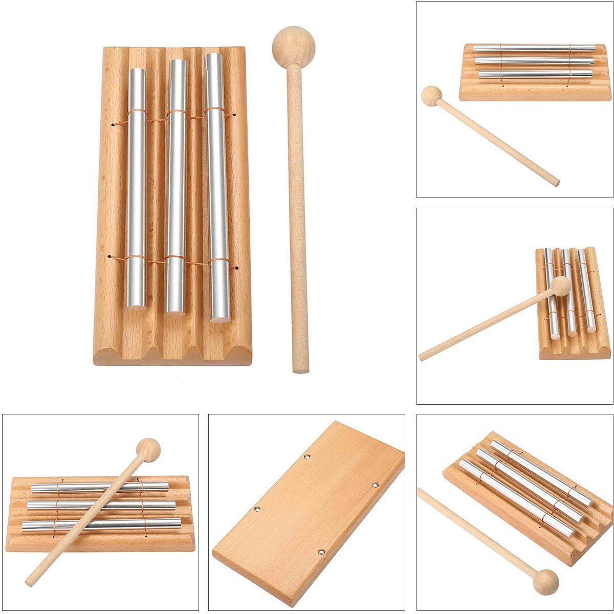 Meditation Chime, MOHOO Energy Chimes Trio Chime Three Tone Percussion Instrument with Mallet MOHOOkkSFWxcPf
