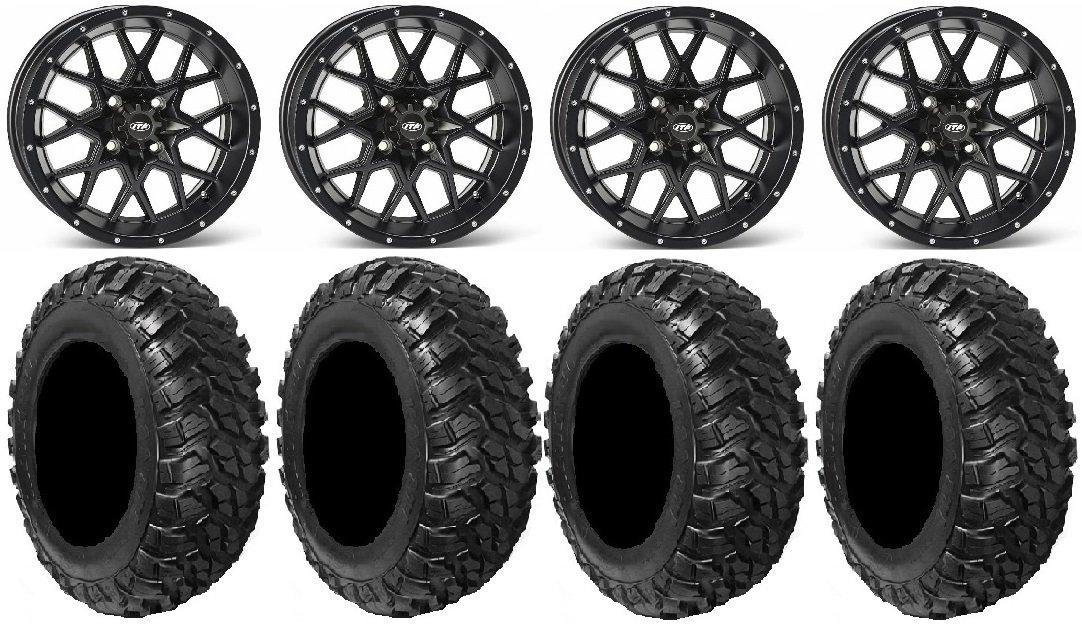 Bundle - 9 Items: ITP Hurricane 14'' Wheels Black 30'' Kanati Mongrel Tires [4x156 Bolt Pattern 12mmx1.5 Lug Kit]
