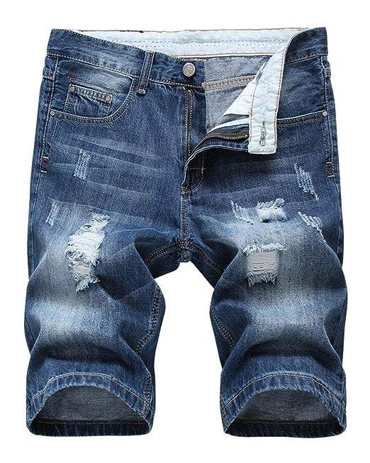 Hombre Pantalones Cortos Casuales Jeans Ajustados Casuales ...