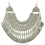 Idealway boho etnico turco India tribal gypsy argento monete chic Statement Chunk collana