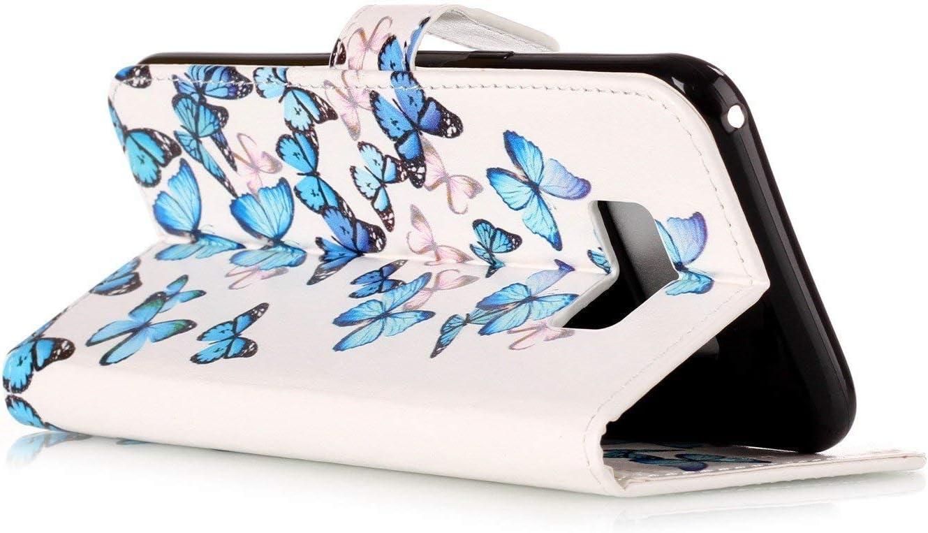 2019 5.8 inch Blue Butterfly Samsung Galaxy S10e Case,Galaxy S10e Kickstand Case,SKYMARS S10e Cover PU Leather Marble Creative Design Kickstand Cards Slot Wallet Magnet Stand Flip Folio Cover Case for Samsung Galaxy S10e 2019