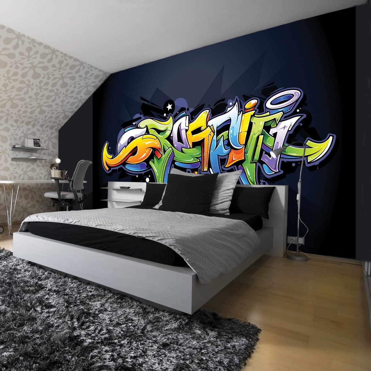 wandtattoo jugendzimmer jungen graffiti. Black Bedroom Furniture Sets. Home Design Ideas