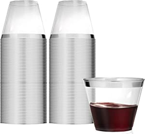 Stock Your Home Silver Rim 9 Ounce Clear Plastic Cups (100 Pack) Disposable Party Cups - Old Fashioned Reusable Plastic Tumblers for Weddings, Parties and Everyday Use