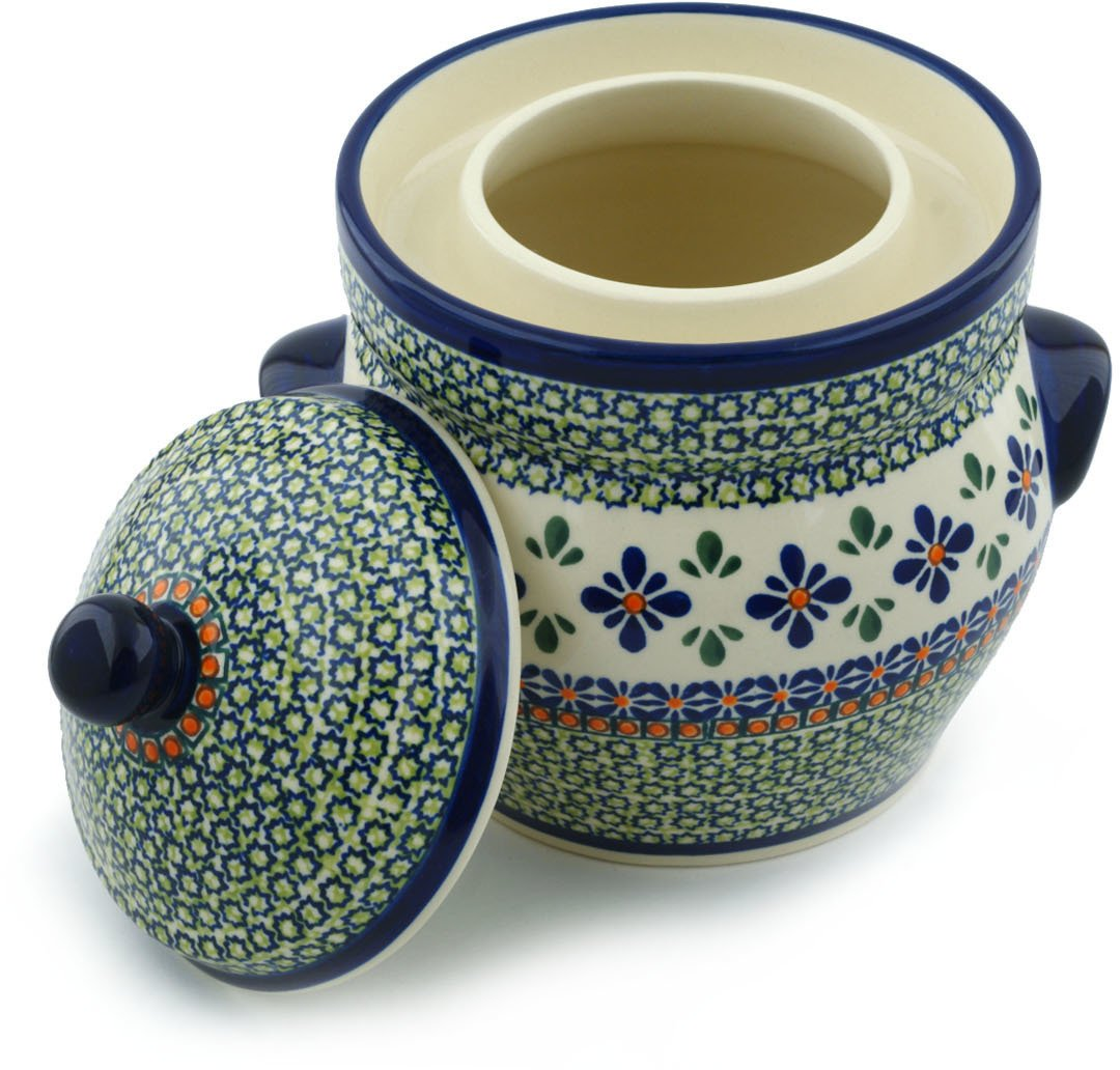 Polish Pottery Fermenting Crock Pot with Water Seal (7 Cups) Gingham Flowers