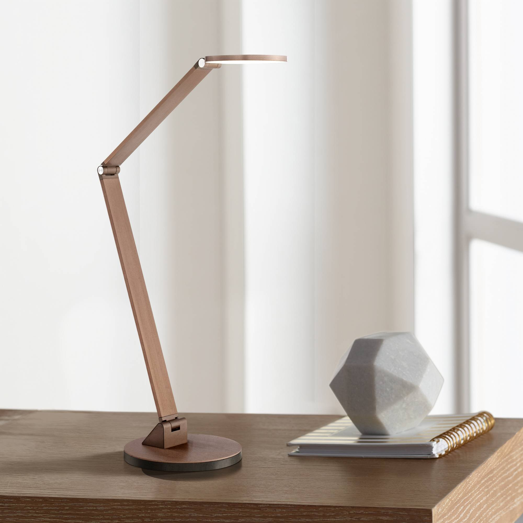 Magnum Modern Desk Table Lamp LED Adjustable Arm Head French Bronze Metal for Office Craft Hobby - Possini Euro Design by Possini Euro Design