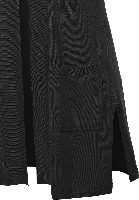 A2Y Womens Open Front Long Sleeveless Draped Side Pockets Vest Knit Sweater