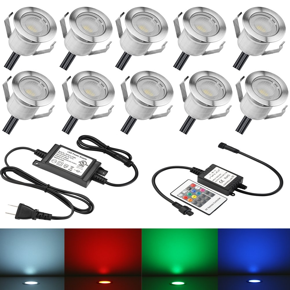 """Low Voltage LED Deck Lights Kit Φ1.18"""" Waterproof Recessed Deck Lamp Outdoor Yard Garden Pathway Patio Step Stairs Landscape Decor LED In-ground Lighting RGB, Pack of 10"""