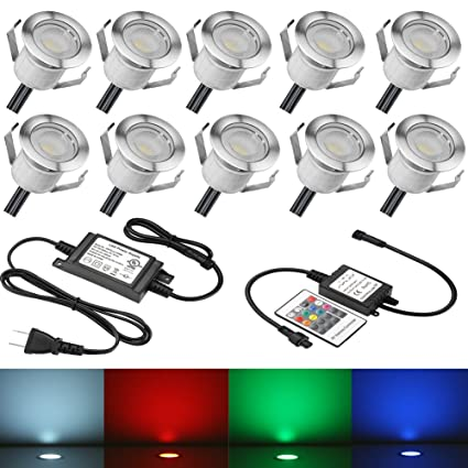 FVTLED 10pcs Low Voltage LED Deck Lights Kit Garden Decoration Multi-color RGB Light Outdoor  sc 1 st  Amazon.com & FVTLED 10pcs Low Voltage LED Deck Lights Kit Garden Decoration Multi ...