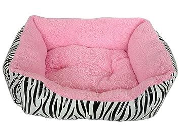 Cama suave para mascotas, estampado exterior de cebra con interior de color rosa, para