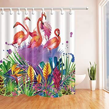 HiSoho Flamingo Wallpaper Shower CurtainsWatercolor In Tropical Palm Leaves And FlowersMildew