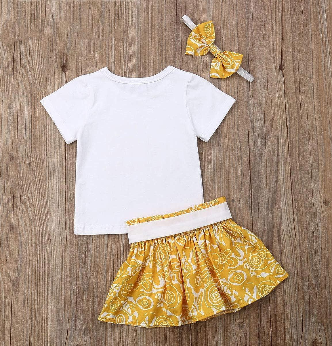 Summer Girls Skirt Set Headband Short Sleeve Letter Print Tops Bowknot Tutu Skirt 3pcs