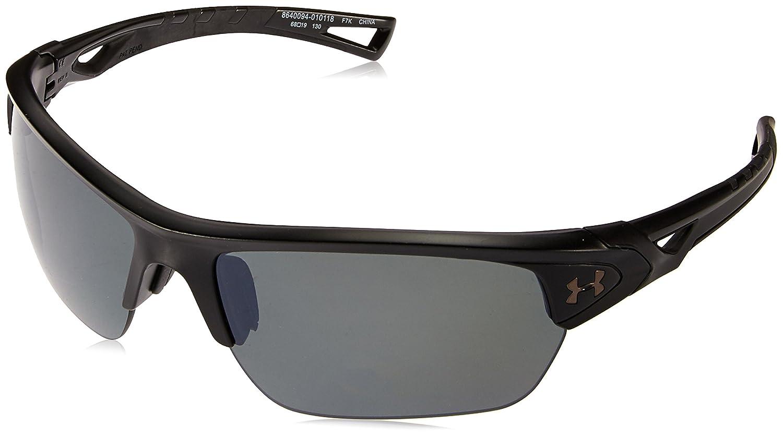 Under Armour UA Octane Wrap Sunglasses, UA Octane Shiny White / Charcoal Gray Frame / Gray / Blue Multiflection Lens, 63 mm
