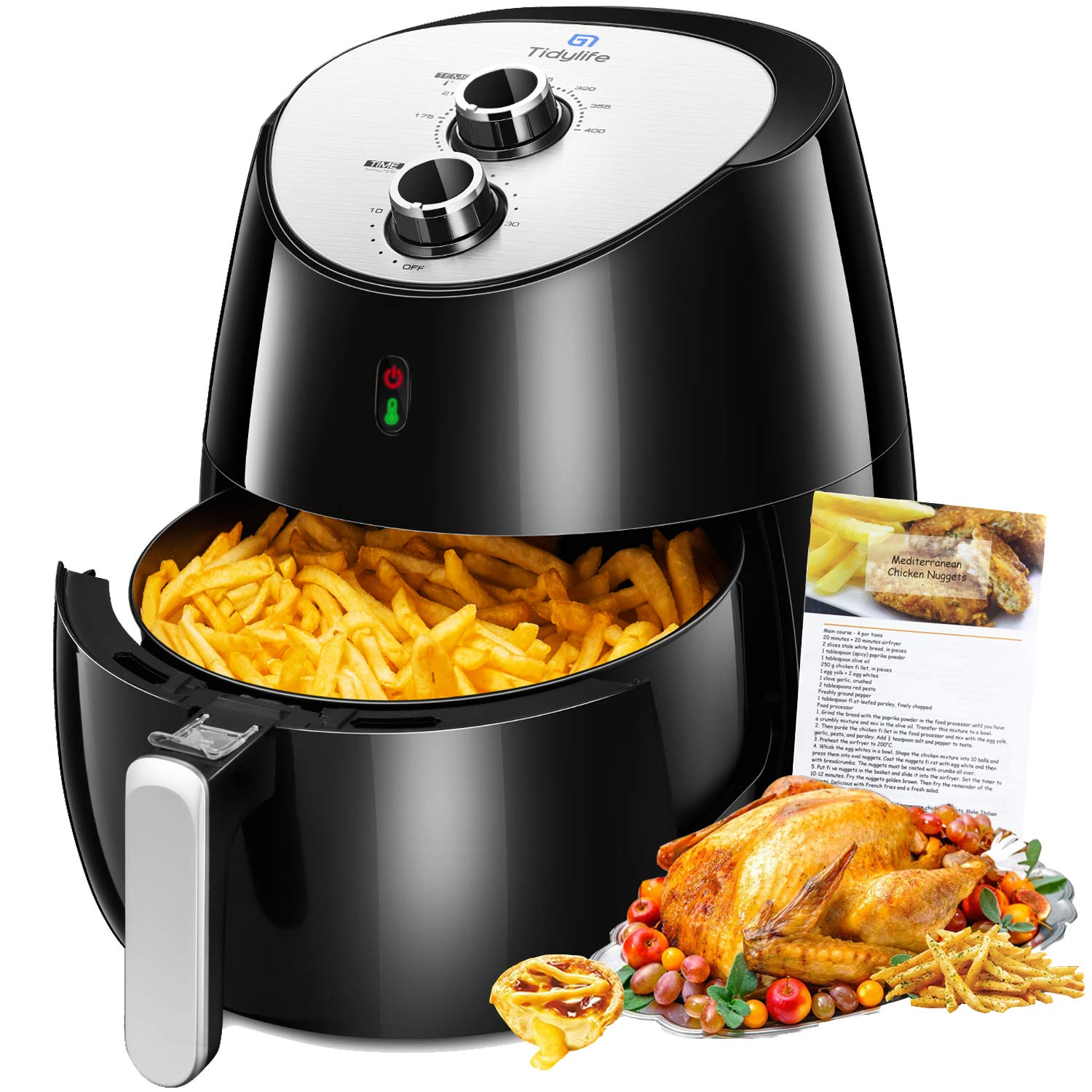 Air Fryer, Tidylife 5.8 QT Large Air Fryer, 1700W Oilless XL Oven Cooker, Smart Time and Temperature Control, 7 Cooking Preset, 175-400℉ Hot Air Fryer with Non-stick Basket, Auto Shut Off, 50+ Recipes