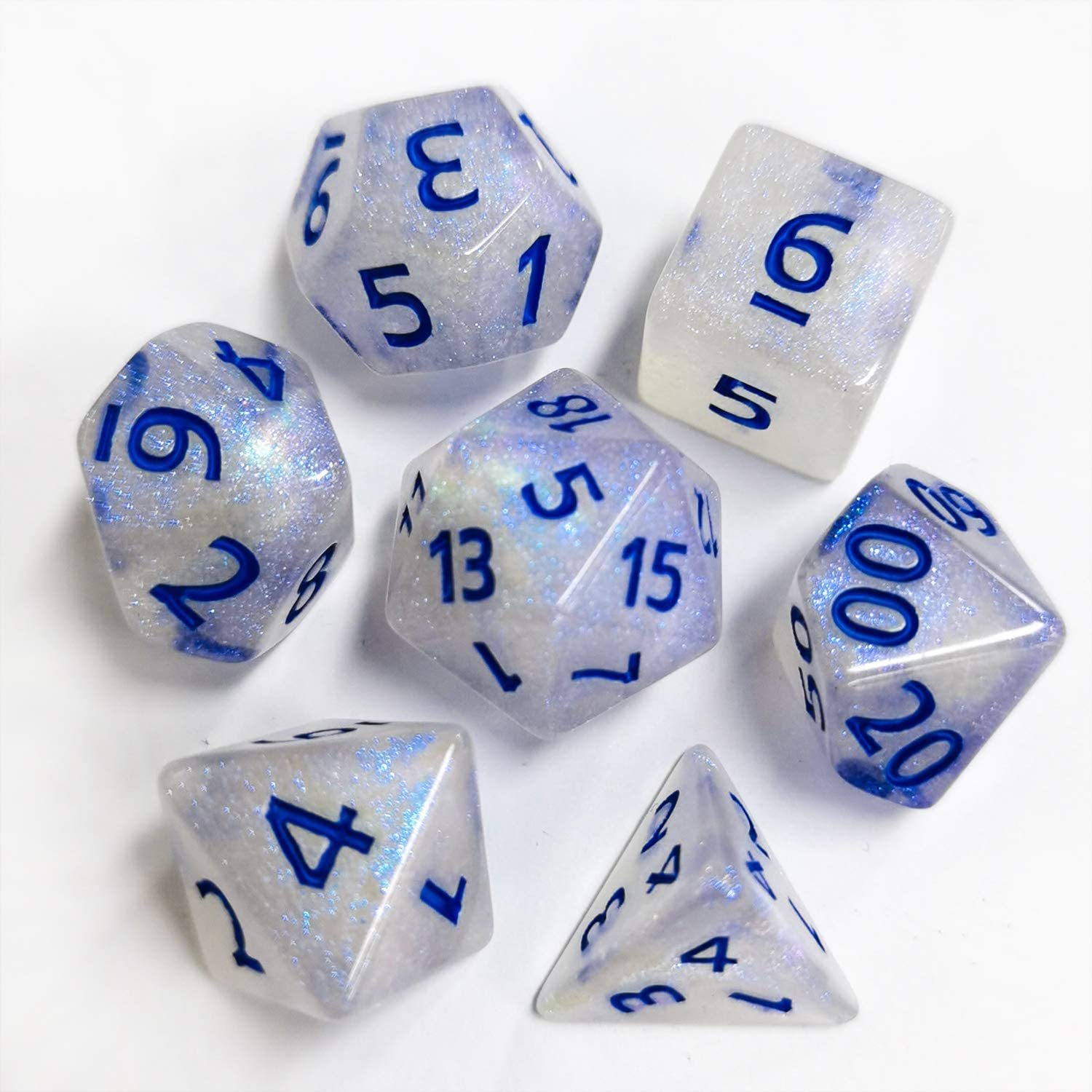 FLASHOWL Dice D/&D Dice Set 5 Set for Role Playing Game Dungeons and Dragons Dice Polyhedral Game Dice Set Multicolor Semi-Transparent DND Dice Set 5 x7 Dice 35 Pieces