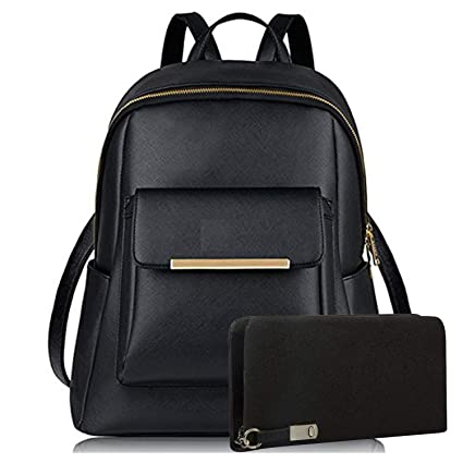 Buy Glory Fashion Stylish Pu Girls School  College Casual Backpack And  Wallet Clutch Combo(Black) Online at Low Prices in India - Amazon.in b578a2e070181