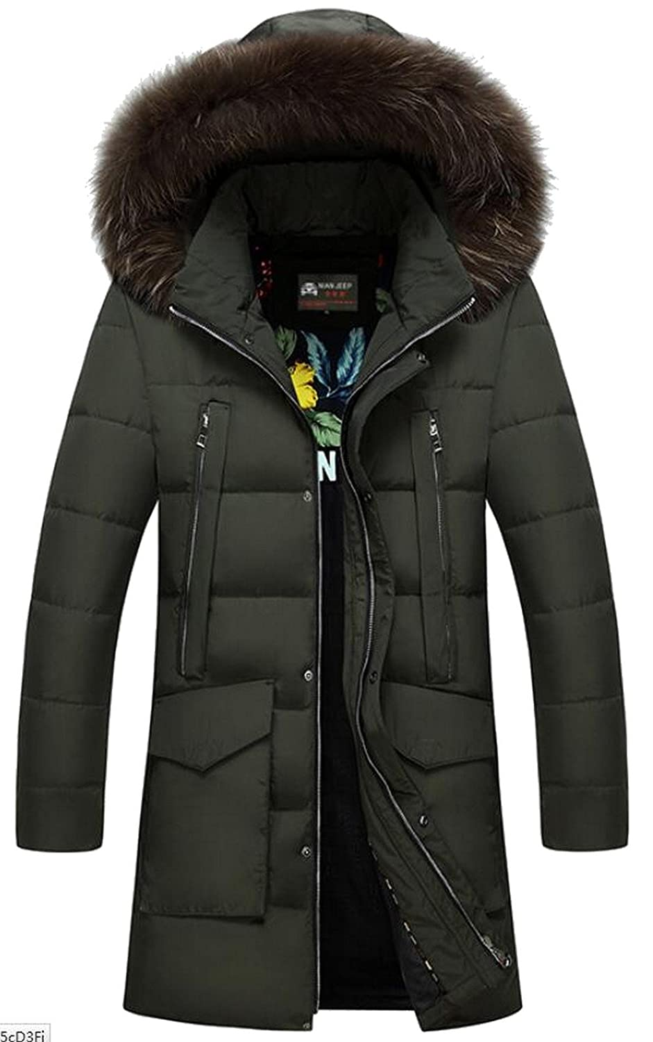 JIAX Men's Warm Winter Duck Down Hooded High-End Fur Long Jacket Parka