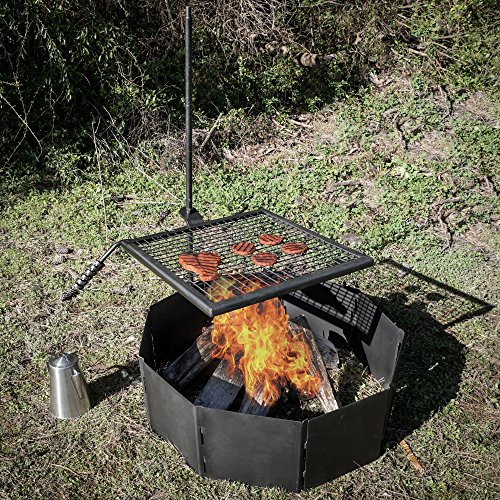 Titan Adjustable Swivel Grill Campfire Cooking Grate 40'' Fire Pit Ring BBQ by Titan Great Outdoors