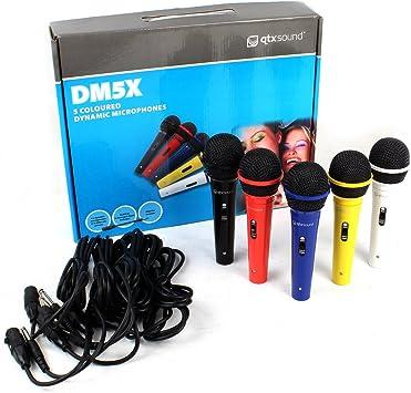 Pack de 5 micrófonos de colores con cinco cables jack: Amazon.es: Electrónica