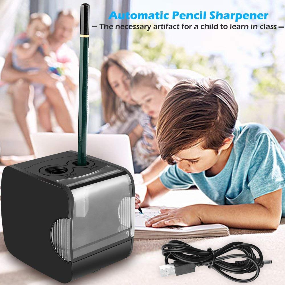 Electric Pencil Sharpener, AOFU USB Double Hole Battery Operated Heavy Duty Sharpener for kids, School and Office (Black)-003 by AOFU (Image #3)