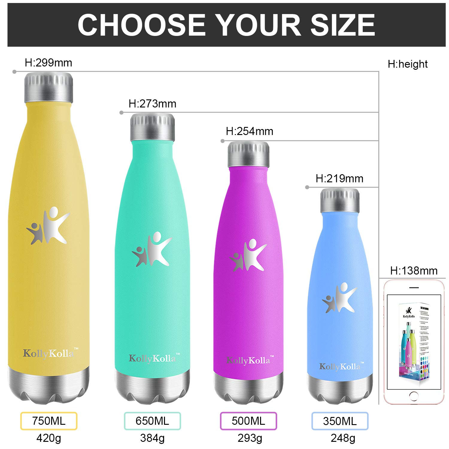 Amazon.com : KollyKolla Vacuum Insulated Water Bottle ...